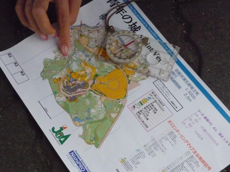 続いてオリエンテーリングマップを利用して屋外でのナビゲーション(道案内)を体験